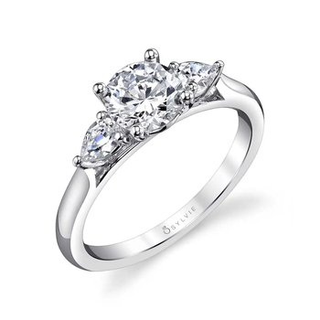 - Three-Stone Diamond Pear-Shaped Accented Semi-Mount Engagement Ring