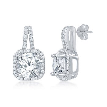 Sterling Silver Round CZ Halo Earring Pair