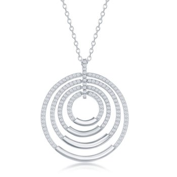 Sterling Silver Multi-Circle CZ Pendant Chain Neckalce