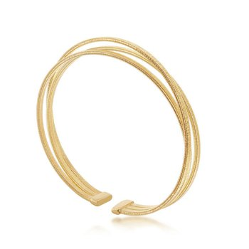 - Italian Collection 14k Yellow Gold Plated Sterling Silver Textured Triple Wire Cuff Bangle Bracelet