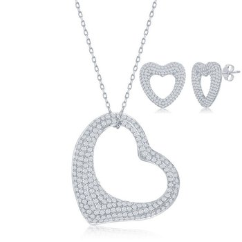 Sterling Silver CZ Stones Heart Pendant Necklace and Earrings Set