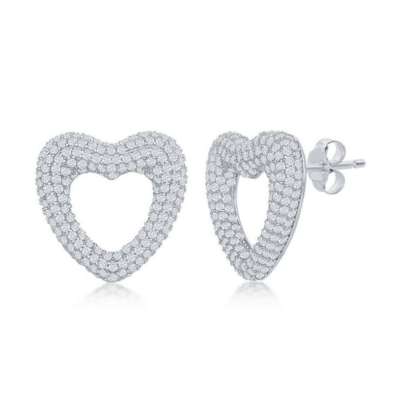 Fashion Jewelry Collection Sterling Silver CZ Stones Heart Pendant Necklace and Earrings Set