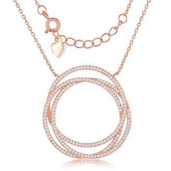 Sterling Silver Triple Open CZ Circle Chain Necklace