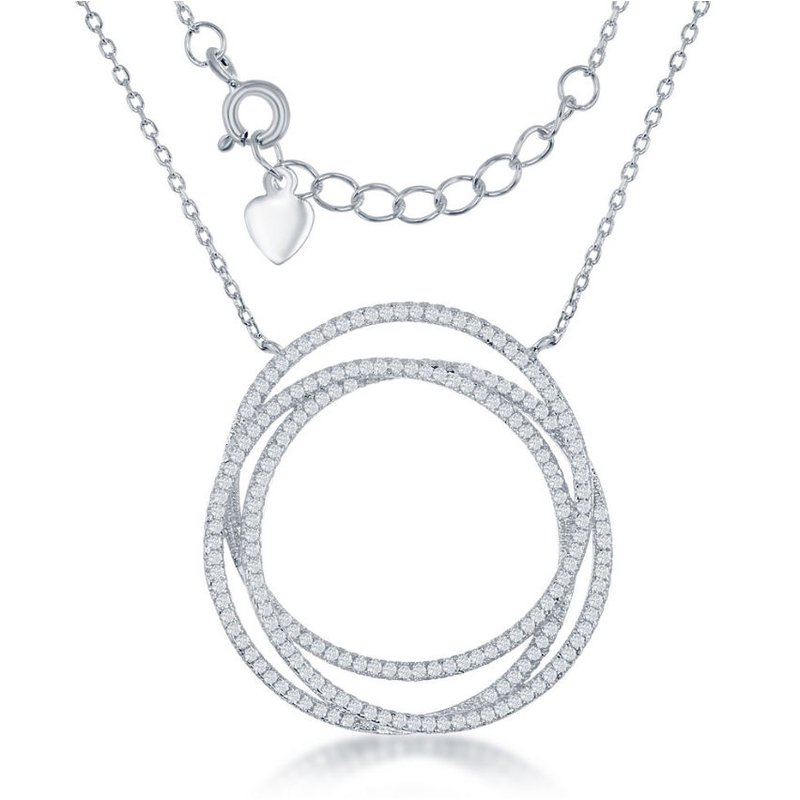 Fashion Jewelry Collection Sterling Silver Triple Open CZ Circle Chain Necklace
