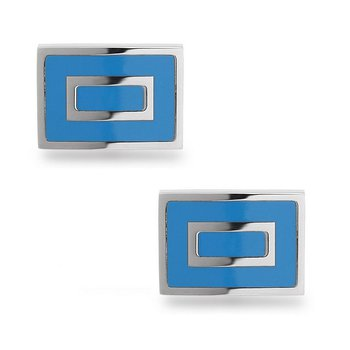 - Stainless Steel Blue Square Cuff Links for Men