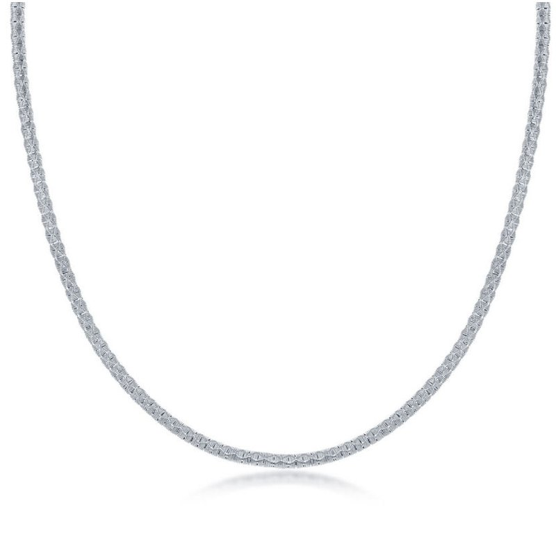 """Fashion Jewelry Collection  - Sterling Silver Diamond-Cut Wire Design Adjustable Chain Necklace - 17"""""""