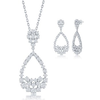 Sterling Silver CZ Open Pear-Shaped Pendant and Earrings Set