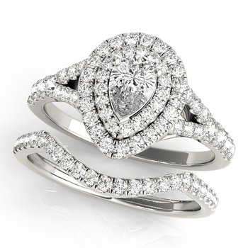 Pear-Shaped Diamond Accented Halo Engagement Ring and Wedding Band Set