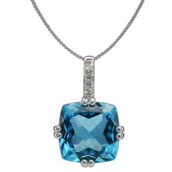 - 14k White Gold Diamond and 2.39Ct. Swiss Blue Topaz Gemstone Chain Pendant