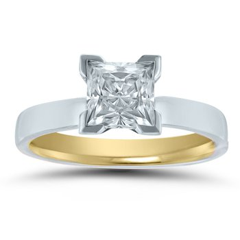- Semi-Mount Princess Solitaire INSIDE OUT Unique & Trending Flat Medium Weight Engagement Ring