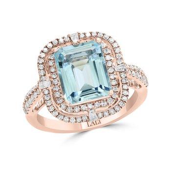 - 14k Rose Gold 0.55Ctw. Diamond Double Halo and 2.79Ct. Aquamarine Gemstone Fancy Cocktail Ring