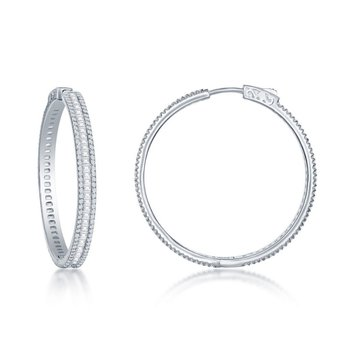 Sterling Silver Round and Baguette CZ 4mm Wide Hoop Earrings
