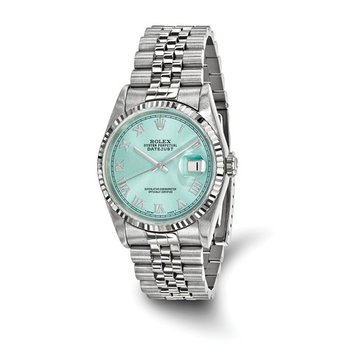 : Pre-Owned Independently Certified Rolex Gents Datejust Two-Tone Steel/18k with Ice Blue Roman Numerals Dial, and Jubilee Band