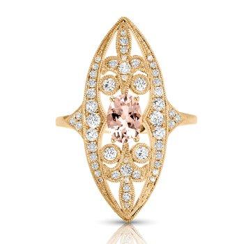 1/2ct. Diamond & 5/8ct. Morganite Gemstone 14k Yellow Gold Right Hand Ring