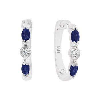 - 14k White Gold Diamond and Blue Sapphire Gemstone Hinged Snap Huggie Earrings