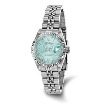 : Pre-Owned Independently Certified Rolex Ladies Datejust Two-Tone Steel/18k with Ice Blue Roman Numerals Dial, and Jubilee Band
