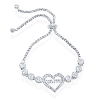 Sterling Silver Center Mom-in-Heart with Linked Bezel CZ Adjustable Bolo Bracelet