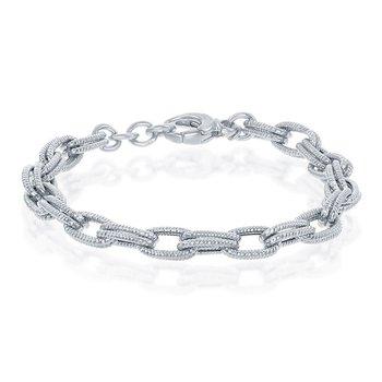 "- Bella Moda Sterling Silver Rope Design Double Oval Link Chain Bracelet - 8"""