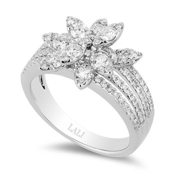 - 14k White Gold Diamond Fancy Floral Flower Nature Inspired Design Cocktail Ring