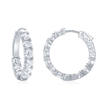 Sterling Silver 5x29mm Inside-Out CZ Hinged Hoop Earrings