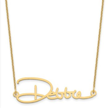 "14k Gold Personalized 2""x1"" Name/Signature 18""x1mm Chain Necklace"