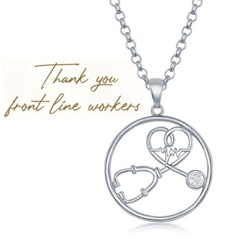 "Sterling Silver CZ Stethoscope Heart and Heartbeat ""Thank You Front Line Workers"" Pendant"