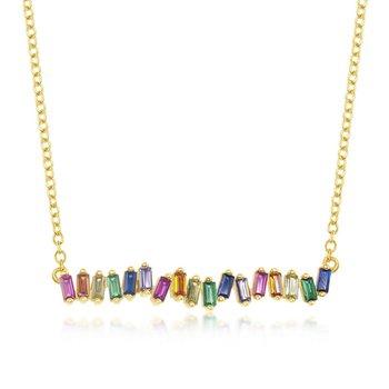 """- Sterling Silver Multi-Color Rainbow Baguette CZ Bar Necklace - 16"""""""