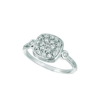 14K Gold 0.50ctw. Diamond Cluster Square Accented Cocktail Anniversary Ring