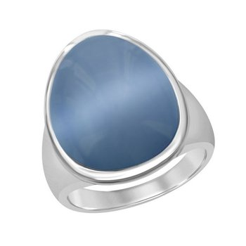 - Simona Sterling Silver Denim Blue Oval Cat's Eye Ring