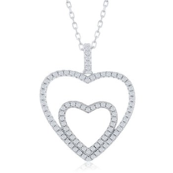 Sterling Silver Heart in Heart CZ Pendant Chain Necklace