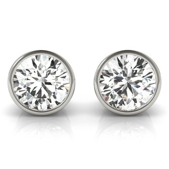 Natural Diamond OR Lab-Grown Diamond Round Tapered Bezel Set Stud Earrings Pair