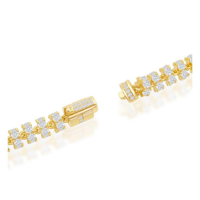 Fashion Jewelry Collection - Sterling Silver Gold Plated 6mm Barrel White CZ Chain Bracelet / Necklace for Men