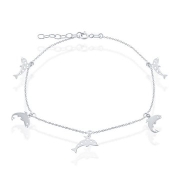- Sterling Silver Dolphin Charms Chain Anklet - 9""