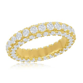 Brilliance Sterling Silver 14k Yellow Gold Plated All Around Triple Row CZ Eternity Band Ring