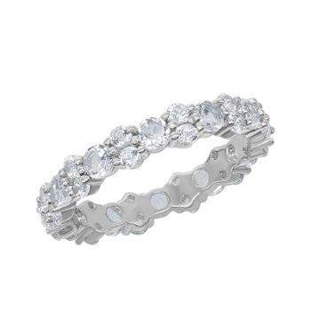 Bellissima Sterling Silver 2.80ctw. Round White Topaz Gemstone Eternity Band Ring