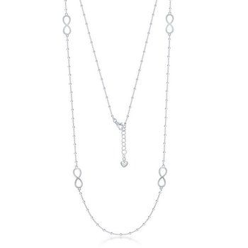 """- Sterling Silver Infinity and Bead Chain Necklace - 36"""""""