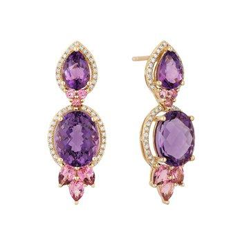 - 14k Yellow Gold Diamond Halo Amethyst Center with Pink Tourmaline Gemstones Dangle/Drop Earrings