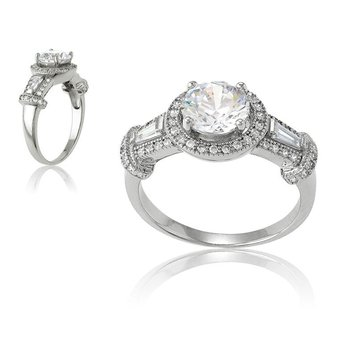 - Sterling Silver Center Set with Round CZ Stone and Accented with Baguettes and Micro Pave Set Round CZ Stones Engagement Ring