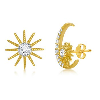Sterling Silver 14k Yellow Gold Plated CZ Sun and Moon Stud Earrings