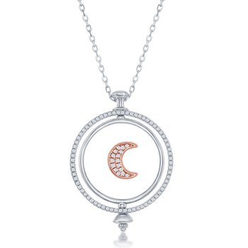 Sterling Silver Two-Tone 14k Rose Gold Plated Spinning Disc Crescent Moon with CZ Pendant Station Necklace