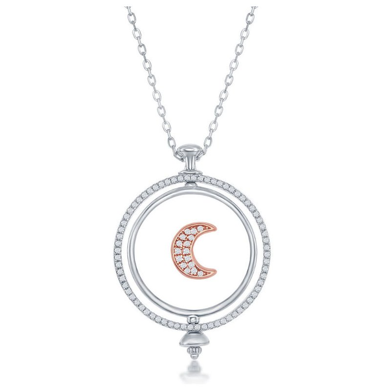 Fashion Jewelry Collection Sterling Silver Two-Tone 14k Rose Gold Plated Spinning Disc Crescent Moon with CZ Pendant Station Necklace