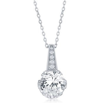 Sterling Silver Round CZ Center Accented Engagement Ring and Pendant and Earrings Set