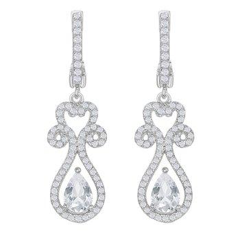 - Bellissima Sterling Silver 2.80ctw. White Topaz Gemstones Teardrop Dangle Drop Earring Pair
