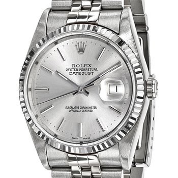 : Pre-Owned Independently Certified Rolex Gents Datejust Steel/18k with Silver Tone  Dial, and Jubilee Band