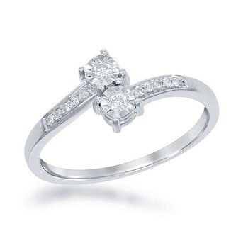 1/8ctw. Diamond 2-Stone Illusion Setting Accented Sterling Silver Promise Engagement Ring