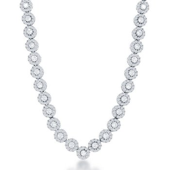 - Sterling Silver Set with CZ Stones Disc Halo Tennis Necklace - 18""