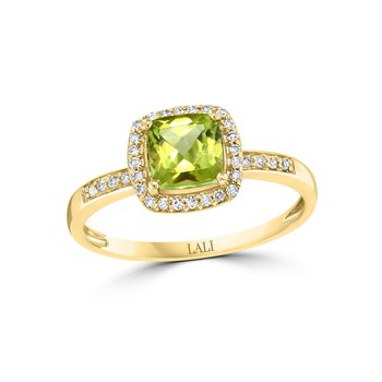- 14k Yellow Gold 0.13Ctw. Diamond Halo and 1.04Ct. Peridot Gemstone Fancy Cocktail Ring