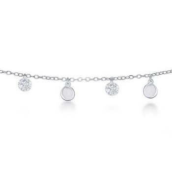 - Sterling Silver Alternating Cubic Zirconia & Shiny Disc Charms Chain Anklet - 9""