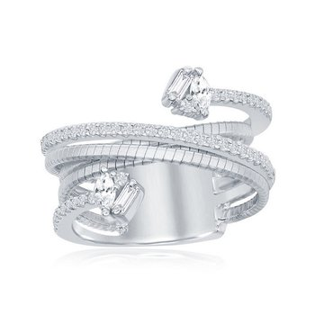 - Italian Collection CZ Baguette Round Marquise Stones Platinum Bonded Sterling Silver Ring Band