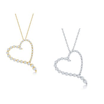 Sterling Silver Round Graduating CZ Heart Pendant